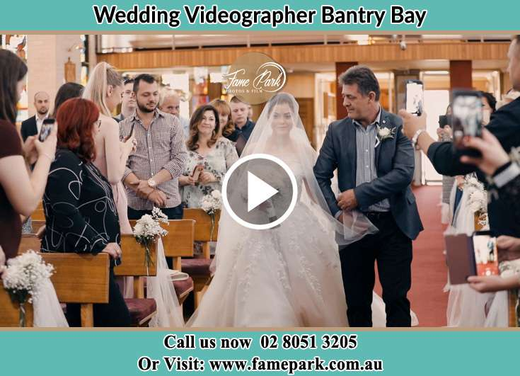 Bride and her father walking down the aisle Bantry Bay NSW 2087