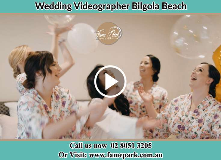 Bride and her secondary sponsors at the pajama party Bilgola Beach NSW 2107