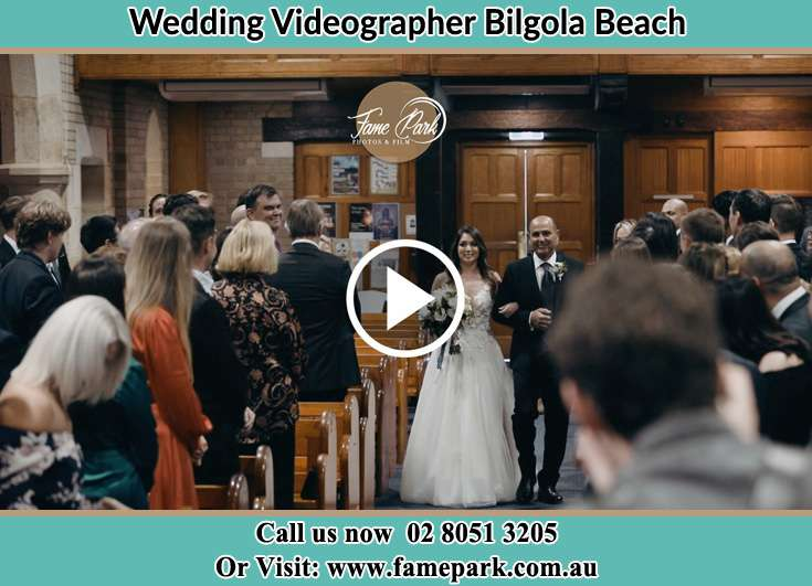 Bride and her father walking at the aisle Bilgola Beach NSW 2107