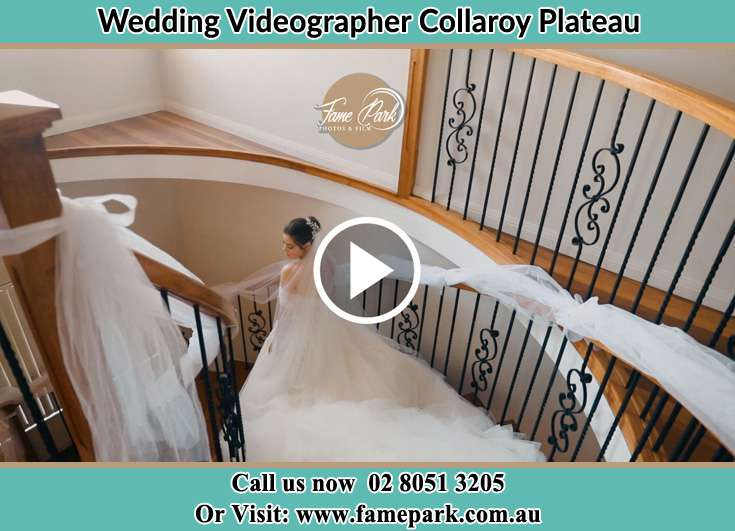 Bride walking down the staircase Collaroy Plateau NSW 2097
