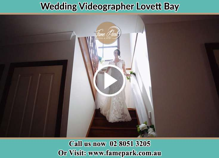 Bride walking down the staircase Lovett Bay NSW 2105