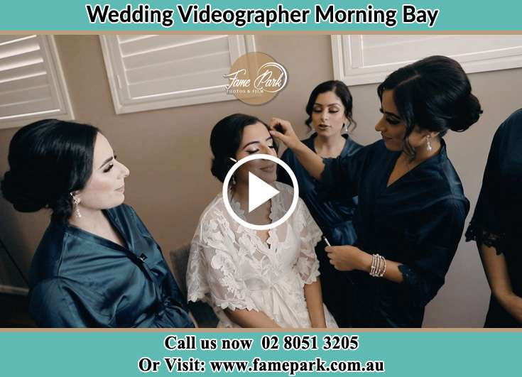 Bride getting her make up done Morning Bay NSW 2105